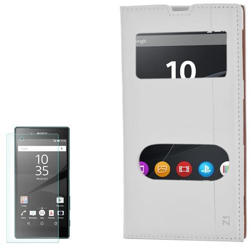 Cep Market Sony Xperia Z1 Kılıf Pencereli Kapaklı Milano Kırılmaz Cam