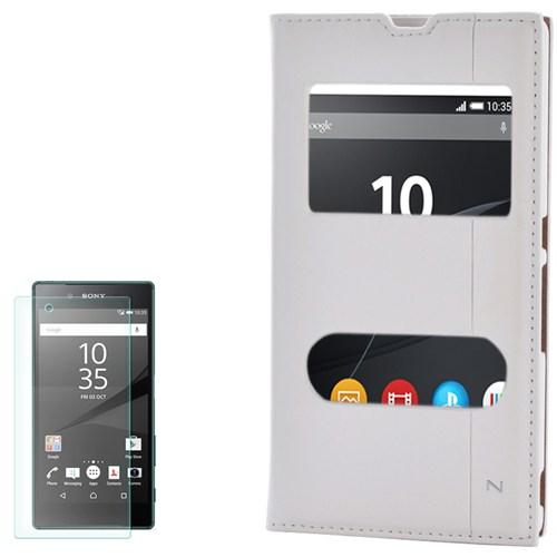 Cep Market Sony Xperia Z Kılıf Pencereli Kapaklı Mıknatıslı Milano Kırılmaz Cam