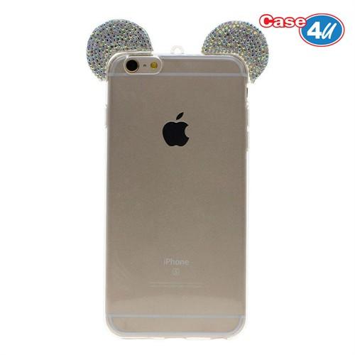 Case 4U Apple iPhone 6S Mickey Mouse Tavşan Kulaklı Taşlı Silikon Kılıf