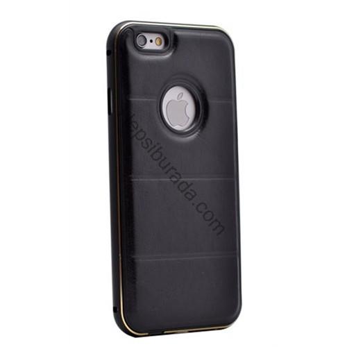Fonemax Apple İphone 6S Deri Arka Kapak Metal Çerçeveli