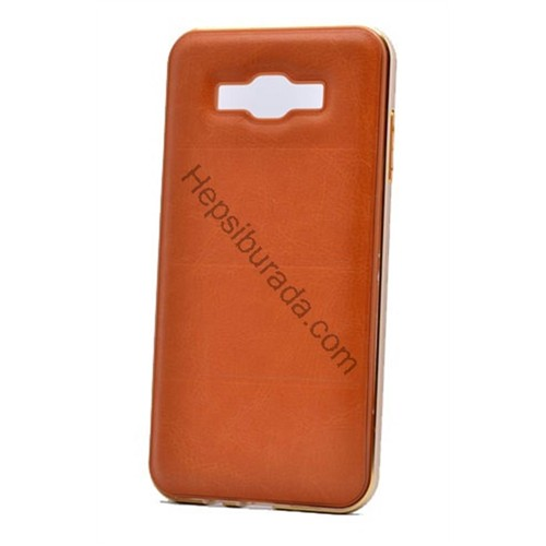 Fonemax Samsung Galaxy J3 Deri Arka Kapak Metal Çerçeveli