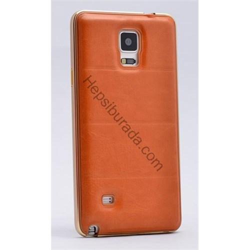 Fonemax Samsung Galaxy Note 4 Deri Arka Kapak Metal Çerçeveli