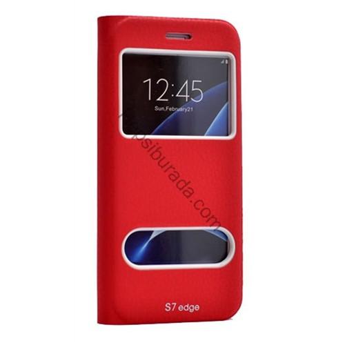 Fonemax Samsung Galaxy S7 Edge Pencereli Kılıf Gizli Mıknatıslı