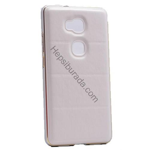 Fonemax Huawei Gr5 Deri Arka Kapak Metal Çerçeveli