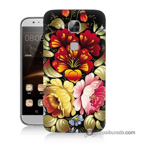 Teknomeg Huawei G8 Kılıf Kapak Çiçekler Baskılı Silikon