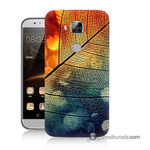 Teknomeg Huawei G8 Kapak Kılıf Yaprak Baskılı Silikon