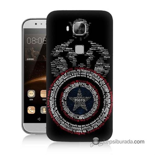 Teknomeg Huawei G8 Kapak Kılıf Kaptan Amerika Baskılı Silikon