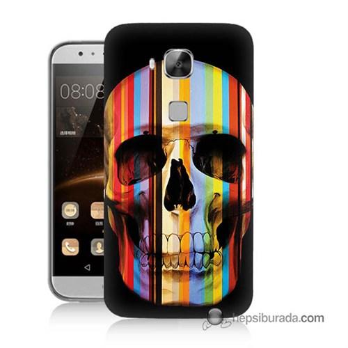 Teknomeg Huawei G8 Kapak Kılıf Renkli Kurukafa Baskılı Silikon