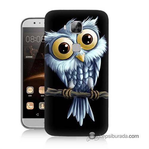 Teknomeg Huawei G8 Kapak Kılıf Beyaz Baykuş Baskılı Silikon