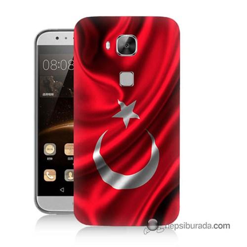 Teknomeg Huawei G8 Kapak Kılıf Türkiye Bayrağı Baskılı Silikon