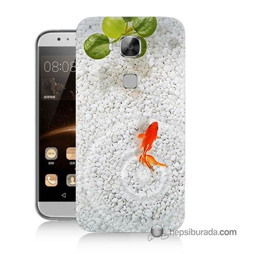 Teknomeg Huawei G8 Kapak Kılıf Kırmızı Balık Baskılı Silikon