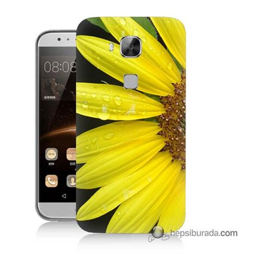 Teknomeg Huawei G8 Kapak Kılıf Sarı Çiçek Baskılı Silikon