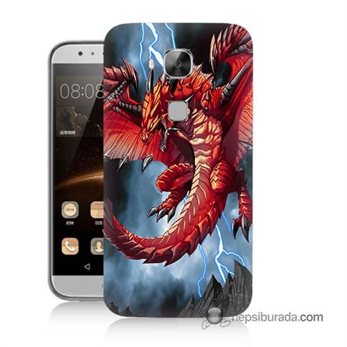 Teknomeg Huawei G8 Kapak Kılıf Dragon Baskılı Silikon