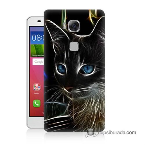 Teknomeg Huawei Gr5 Kapak Kılıf Dumanlı Kedi Baskılı Silikon