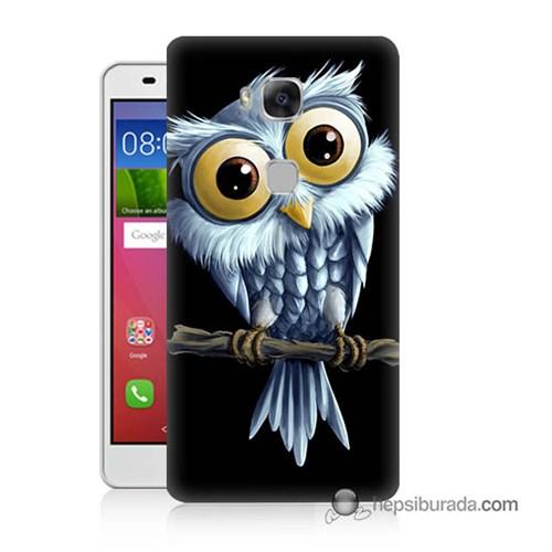 Teknomeg Huawei Gr5 Kapak Kılıf Beyaz Baykuş Baskılı Silikon