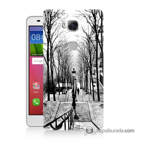 Teknomeg Huawei Gr5 Kapak Kılıf Siyah Beyaz Baskılı Silikon