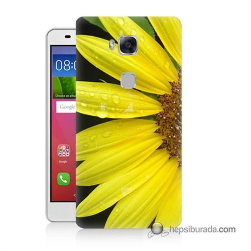Teknomeg Huawei Gr5 Kapak Kılıf Sarı Çiçek Baskılı Silikon