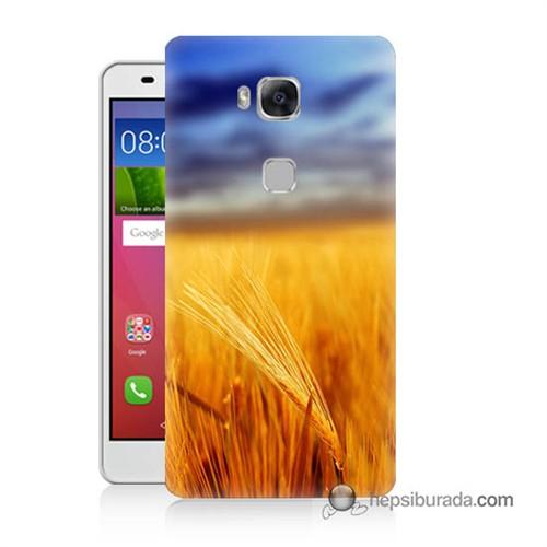 Teknomeg Huawei Gr5 Kapak Kılıf Sarı Mavi Baskılı Silikon