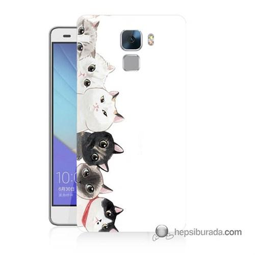 Teknomeg Huawei Honor 7 Kapak Kılıf Kediler Baskılı Silikon