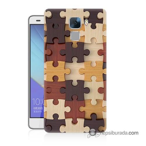 Teknomeg Huawei Honor 7 Kapak Kılıf Puzzle Baskılı Silikon