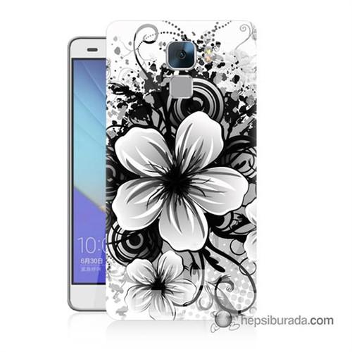 Teknomeg Huawei Honor 7 Kapak Kılıf Manolya Baskılı Silikon