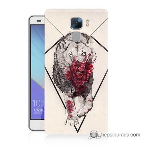 Teknomeg Huawei Honor 7 Kapak Kılıf Kanlı Aslan Baskılı Silikon