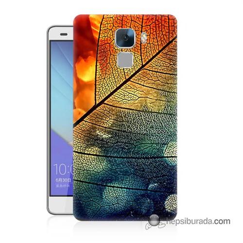Teknomeg Huawei Honor 7 Kapak Kılıf Yaprak Baskılı Silikon