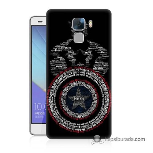 Teknomeg Huawei Honor 7 Kapak Kılıf Kaptan Amerika Baskılı Silikon