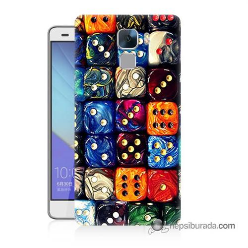Teknomeg Huawei Honor 7 Kapak Kılıf Zarlar Baskılı Silikon