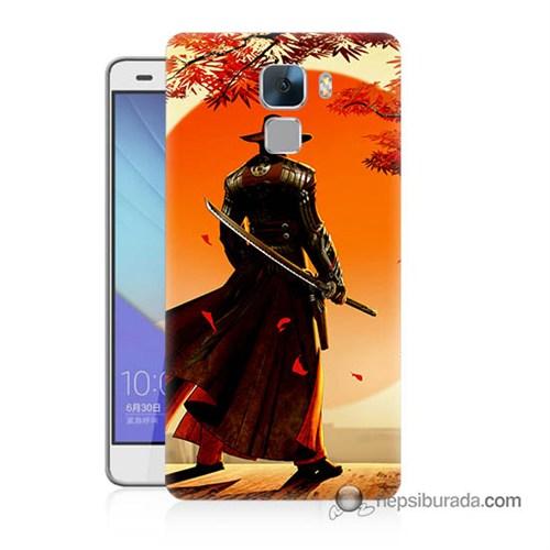 Teknomeg Huawei Honor 7 Kapak Kılıf Red Steel Baskılı Silikon