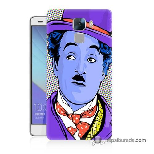 Teknomeg Huawei Honor 7 Kapak Kılıf Charlie Chaplin Baskılı Silikon