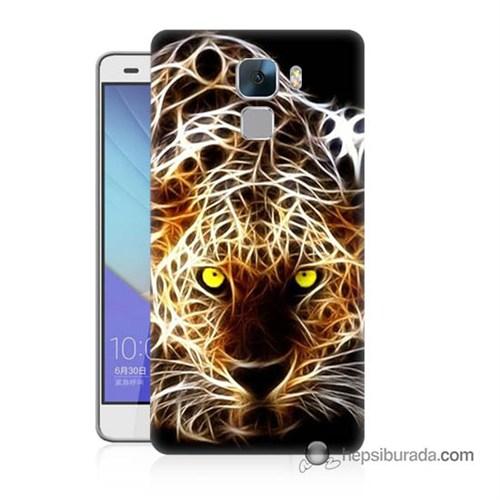 Teknomeg Huawei Honor 7 Kapak Kılıf Yanan Aslan Baskılı Silikon