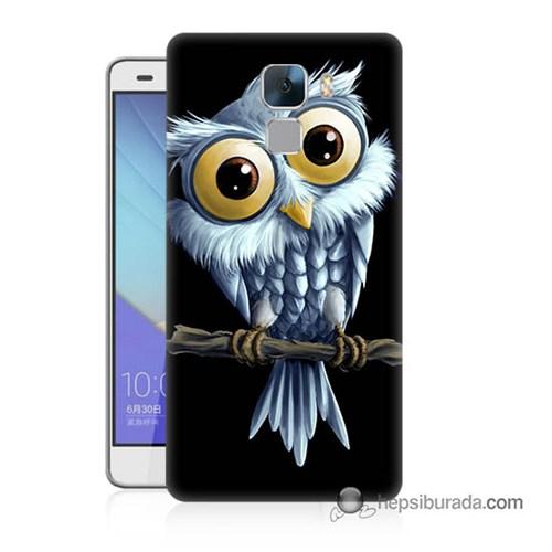 Teknomeg Huawei Honor 7 Kapak Kılıf Beyaz Baykuş Baskılı Silikon
