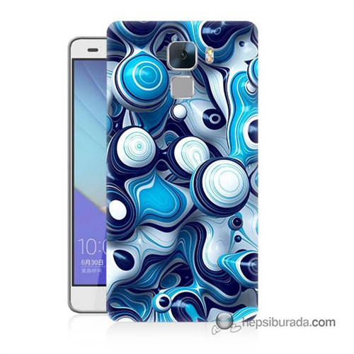 Teknomeg Huawei Honor 7 Kapak Kılıf Derin Mavi Baskılı Silikon