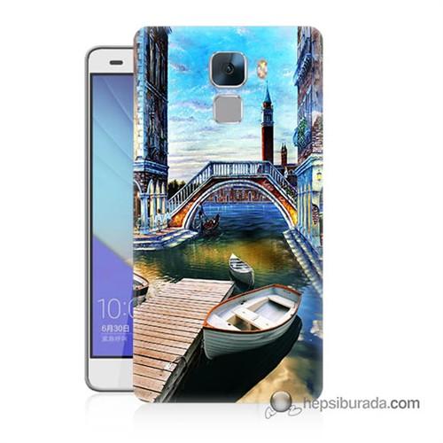 Teknomeg Huawei Honor 7 Kapak Kılıf Tekneler Tablo Baskılı Silikon