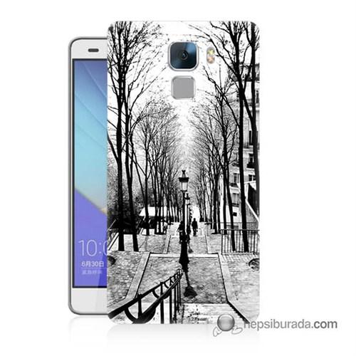 Teknomeg Huawei Honor 7 Kapak Kılıf Siyah Beyaz Baskılı Silikon