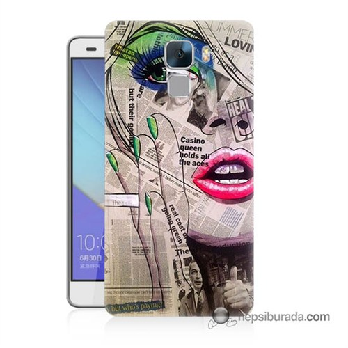 Teknomeg Huawei Honor 7 Kapak Kılıf Gazete Kadın Baskılı Silikon