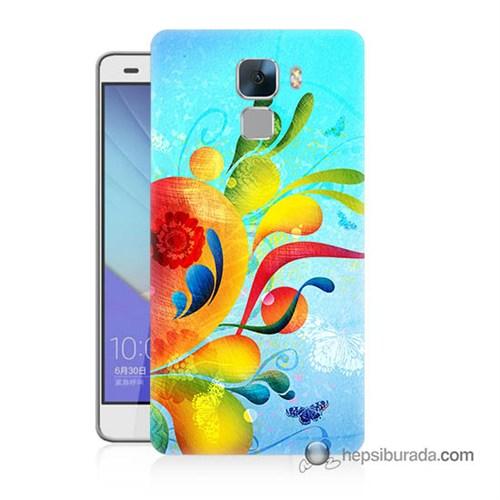 Teknomeg Huawei Honor 7 Kapak Kılıf Renkli Desen Baskılı Silikon