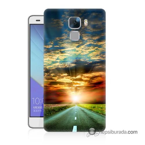 Teknomeg Huawei Honor 7 Kapak Kılıf Yol Baskılı Silikon