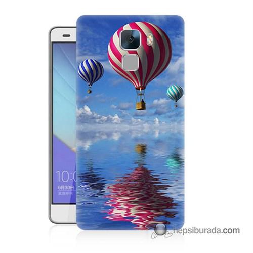 Teknomeg Huawei Honor 7 Kapak Kılıf Renkli Balonlar Baskılı Silikon