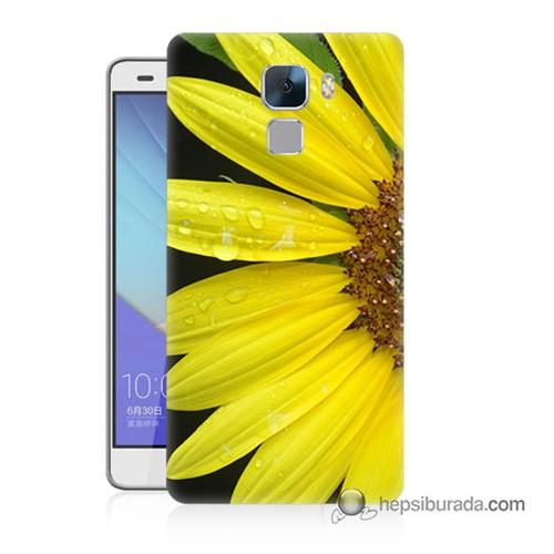 Teknomeg Huawei Honor 7 Kapak Kılıf Sarı Çiçek Baskılı Silikon
