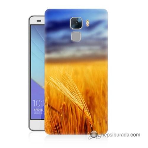 Teknomeg Huawei Honor 7 Kapak Kılıf Sarı Mavi Baskılı Silikon