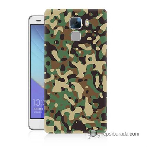 Teknomeg Huawei Honor 7 Kapak Kılıf Askeri Kamuflaj Baskılı Silikon