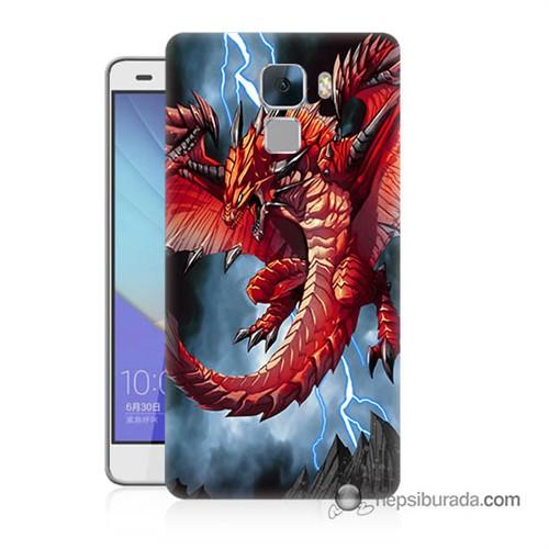 Teknomeg Huawei Honor 7 Kapak Kılıf Dragon Baskılı Silikon