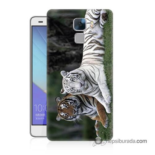 Teknomeg Huawei Honor 7 Kapak Kılıf Aslanlar Baskılı Silikon