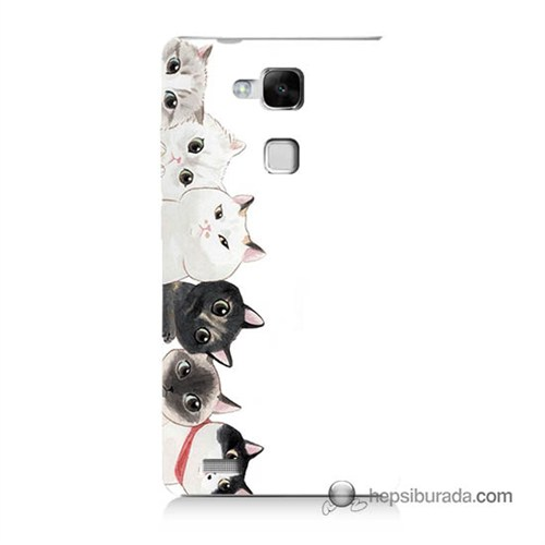 Teknomeg Huawei Mate 7 Kapak Kılıf Kediler Baskılı Silikon