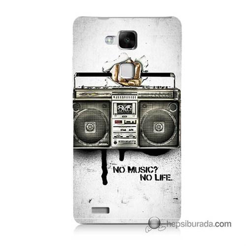 Teknomeg Huawei Mate 7 Kapak Kılıf Müzik Hayattır Baskılı Silikon