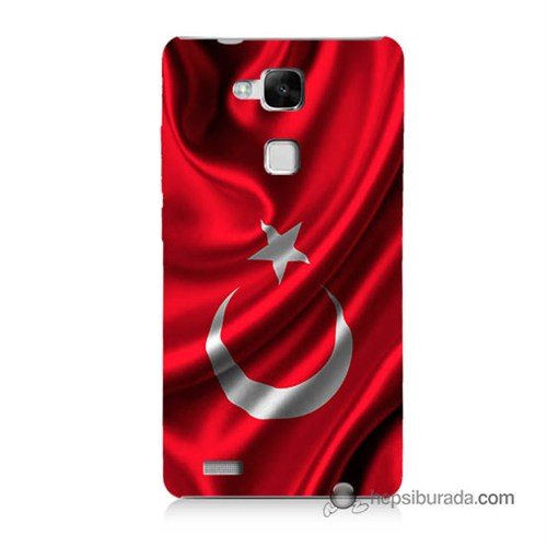 Teknomeg Huawei Mate 7 Kapak Kılıf Türkiye Bayrağı Baskılı Silikon