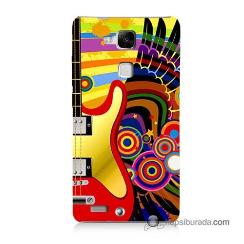 Teknomeg Huawei Mate 7 Kapak Kılıf Renkli Gitar Baskılı Silikon
