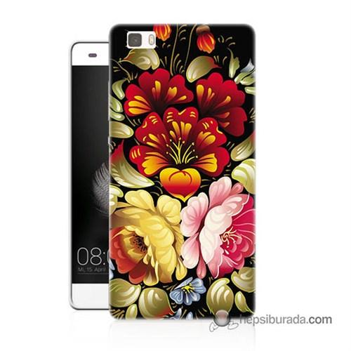 Teknomeg Huawei P8 Lite Kılıf Kapak Çiçekler Baskılı Silikon